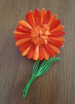 Vintage Designer Enameled Metal Flower Pin Brighton Orange on Stem 1960s - $12.99