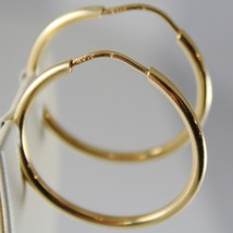 18K YELLOW GOLD EARRINGS CIRCLE HOOP 30 MM 1.18 INCHES DIAMETER MADE IN ITALY image 2