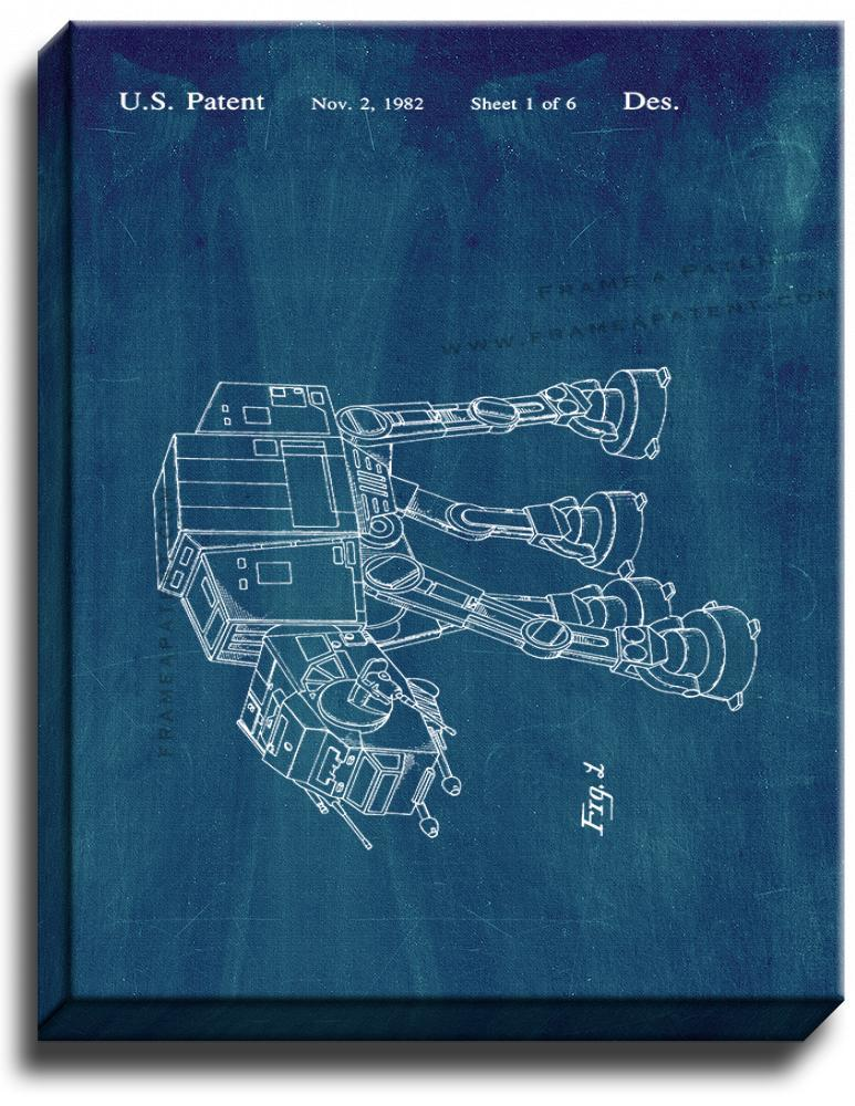 Primary image for Star Wars AT-AT Patent Print Midnight Blue on Canvas