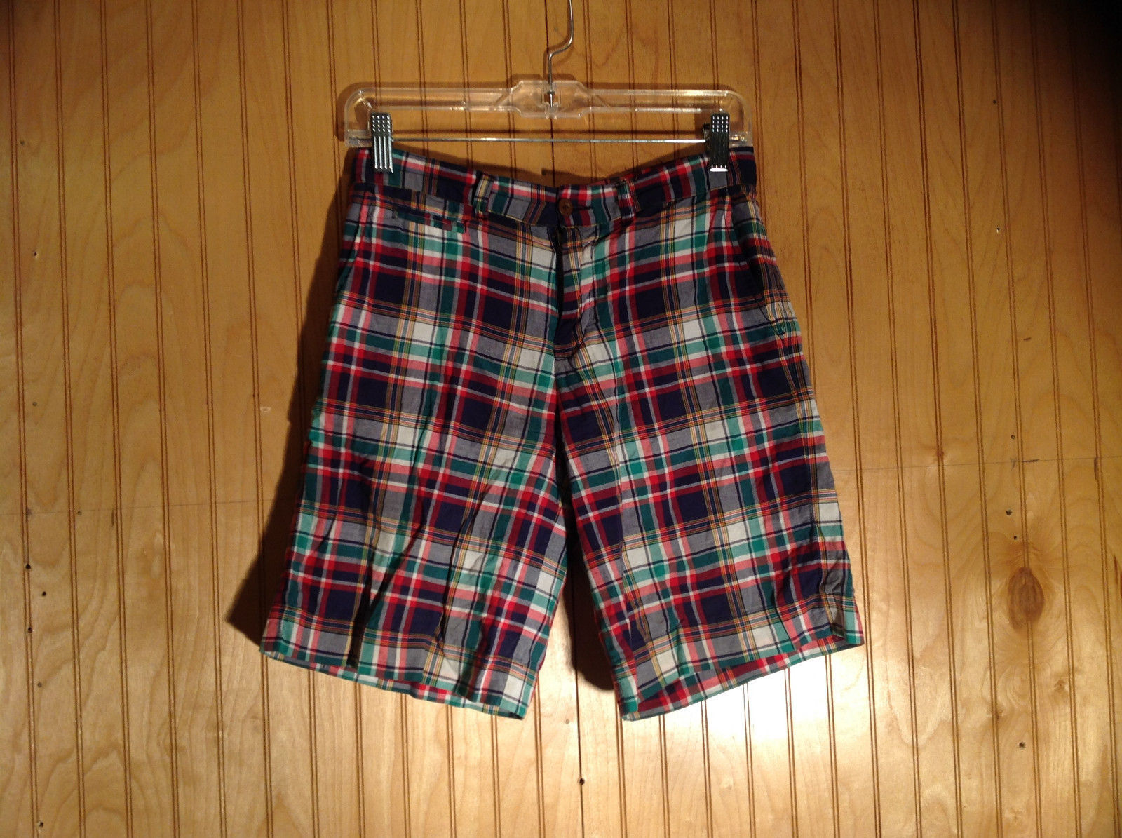 Size 14 boy Plaid Multicolor Ralph Lauren Polo Shorts Two Back Buttoned Pockets