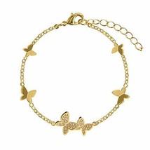 PANDA SUPERSTORE Womens Gold Color Chain Bracelet Butterfly Rhinestone Charm Bra
