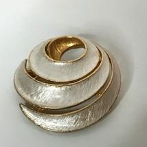 JJ Jonette Silvertone Goldtone Spiral Brooch Vintage - $14.26