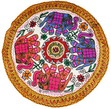 34'' Round Elephant Embroidered Tapestry Wall Hanging Table Throw INDIAN... - £15.13 GBP
