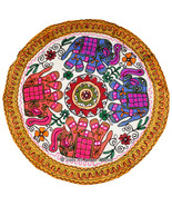 34'' Round Elephant Embroidered Tapestry Wall Hanging Table Throw INDIAN... - $19.79