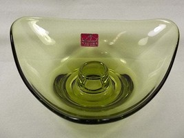 Viking Glass Early Epic Olive Green Bon Bon Triangle Taper Candle Holder... - $36.00