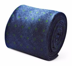 Frederick Thomas mens 100% cotton tie in navy blue with green spot design FT3385