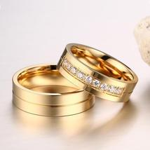 New Solid Polished Gold Stainless Steel  CZ Couples Ring Set