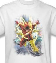 The Flash T-shirt white cotton graphic printed tee super hero DC comics JLA331 image 1