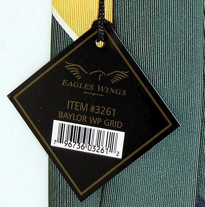 Baylor Bears Mens Necktie College University Logo E. Wings Grid Green Neck Tie  image 4