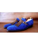 Men's Handmade Blue Suede Monk Shoes, Men Classic designer Genuine Leath... - $159.97+