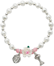 White And Pink Imitation Pearl Stretch Bracelet With Silver Toned Chalice - $33.39