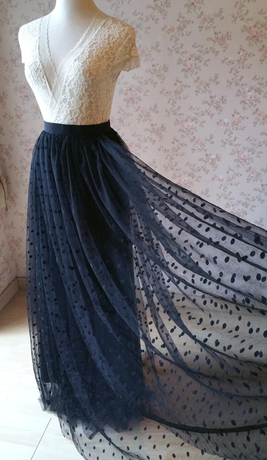 Maxi tulle skirt black dot vintage 1000 5