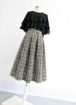 A-line Winter Tweed Skirt Outfit High Waisted Plus Size Burgundy image 7