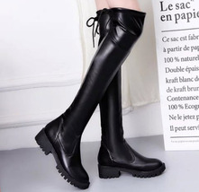 Pb207 cute low-heeled over knee boot US Size 5-8.5 black - $48.80