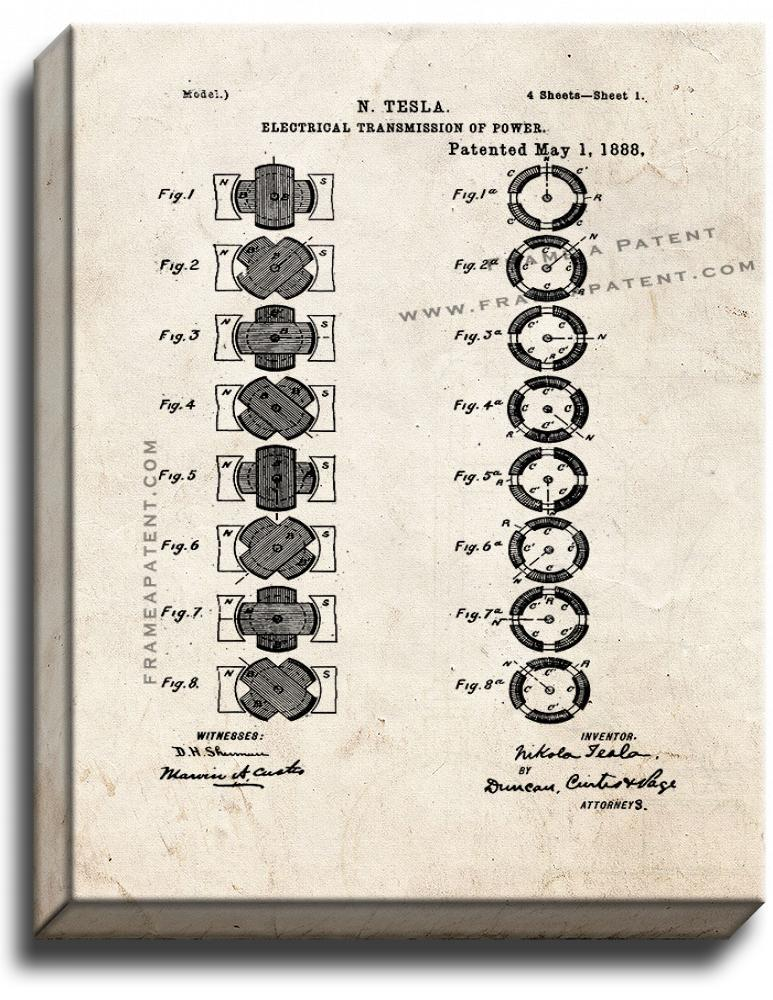 Primary image for Tesla Electrical Transmission of Power Patent Print Old Look on Canvas