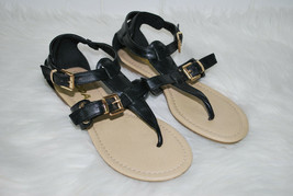 Soda Gladiator Thong Sandals Black Buckles Womens 6 1/2 Vegan Leather 6.... - $14.80