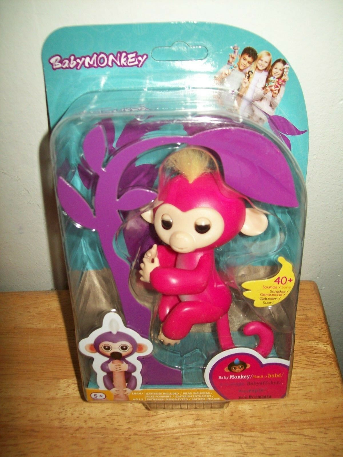 Interactive Baby Monkey Pink Yellow Hair 40+Sounds Gift Present Monkey Toy