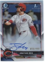2018 Bowman Draft Chrome Autographs Refractors #CDA-JI Jonathan India RC... - $157.49