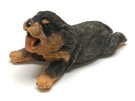 ROTTWEILER BLACK PUPPY DOG Figurine Statue Hand Painted Resin Living Stone - $17.50