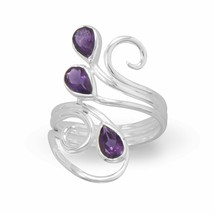 .925 Sterling Silver Polished Scroll Design Amethyst Women's Ring - $46.71