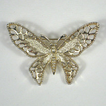 Sarah Coventry Brooch Butterfly Goldtone Signed Pin Vintage Filigree - $14.84