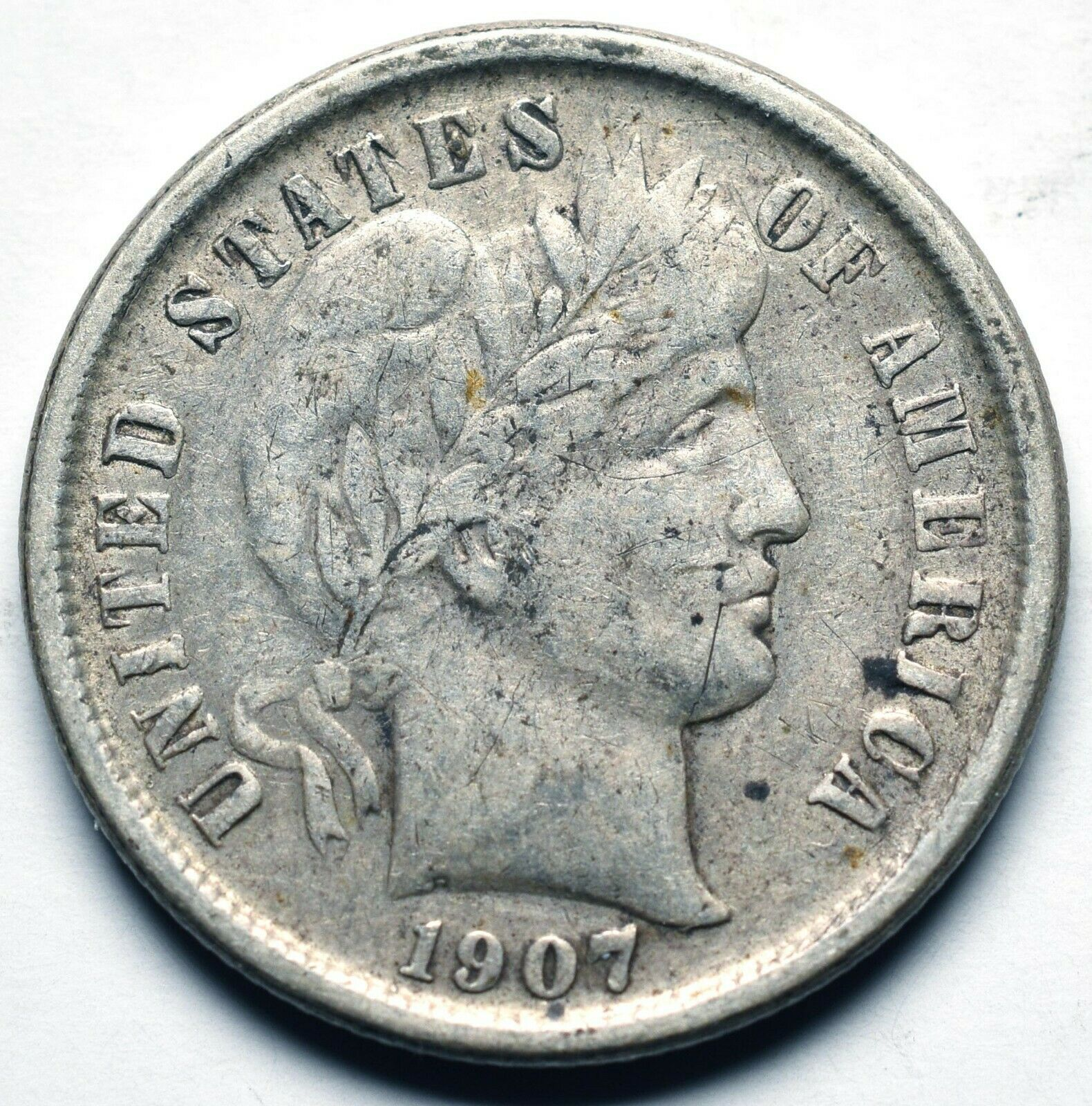 1907S Silver Barber Dime 10¢ Coin Lot# A 240