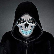 LED Halloween Mask - Halloween Scary Cosplay Light up Mask, Halloween Ma... - £3.92 GBP