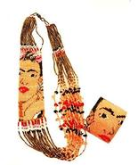 "NE710 Frida Kahlo Fair Trade Necklace Crystal Glass Hand Beaded 22"" Fair... - $49.49"