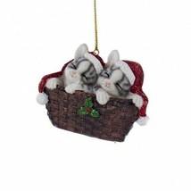 Kurt Adler Gray Kittens W/SANTA Hat In Basket Hand Painted Resin Xmas Ornament - $9.88