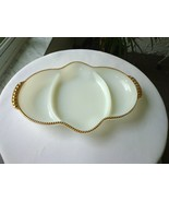 Milk Glass Fire King Ovenware Divided Relish Dish c 1950's USA Signed - $11.88