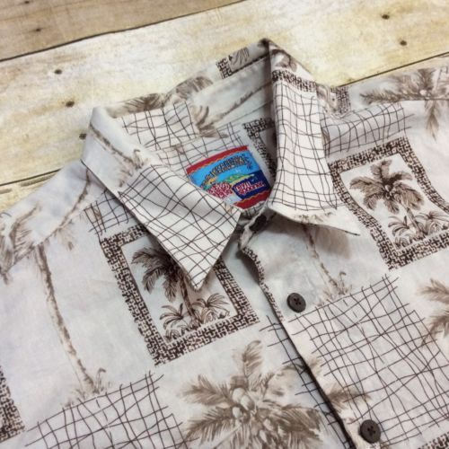 ef2821c4f 12. 12. Previous. Reyn Spooner Joe Kealoha's Beige Palm Trees Men's Large  Cotton Hawaiian Shirt