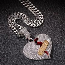 Colorful gem Necklace Pendant for Men Lovers Hip Hop Rapper Broken Heart... - $25.65