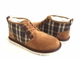 UGG MEN NEUMEL PLAID CHESTNUT SHEARLING SUEDE SHOE US 11 / EU 44 / UK 10 - €101,66 EUR