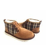 UGG MEN NEUMEL PLAID CHESTNUT SHEARLING SUEDE SHOE US 11 / EU 44 / UK 10 - £93.40 GBP