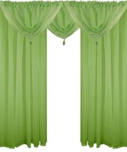 Lime Green 5 Piece Voile Set Rod Pocket Curtains Drapes & Swags - 4 Sizes - $20.21+