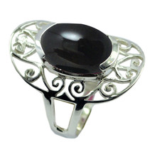 Natural Black Onyx Gemstone Sterling Silver Ring Vintage Jewelry Sizes 4-12 - $20.00
