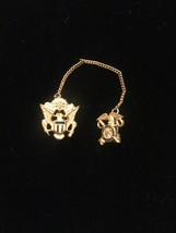 Vintage 40s WWII Quartermaster gold and enamel Sweetheart pins set with chain