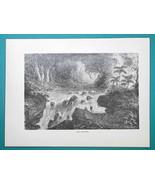 PERU South America Scenery Rio Maniri Falls - 1877 Wood Engraving Illust... - $8.09