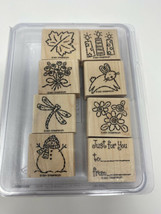 Stampin Up Tags & More 8 pc Wood Rubber Stamps Retired 2001 Rabbit Flowers Leaf - $11.88
