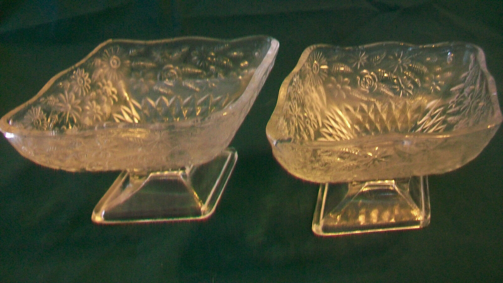 TWO VINTAGE DIAMOND SHAPE INDIANA GLASS COMPOTE DISHES, PINEAPPLE FLORAL PATTERN - $37.13