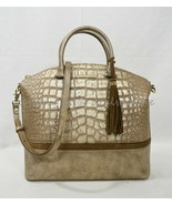 NWT Brahmin Large Leather Duxbury Satchel/Shoulder Bag in Gold Artois - $319.00
