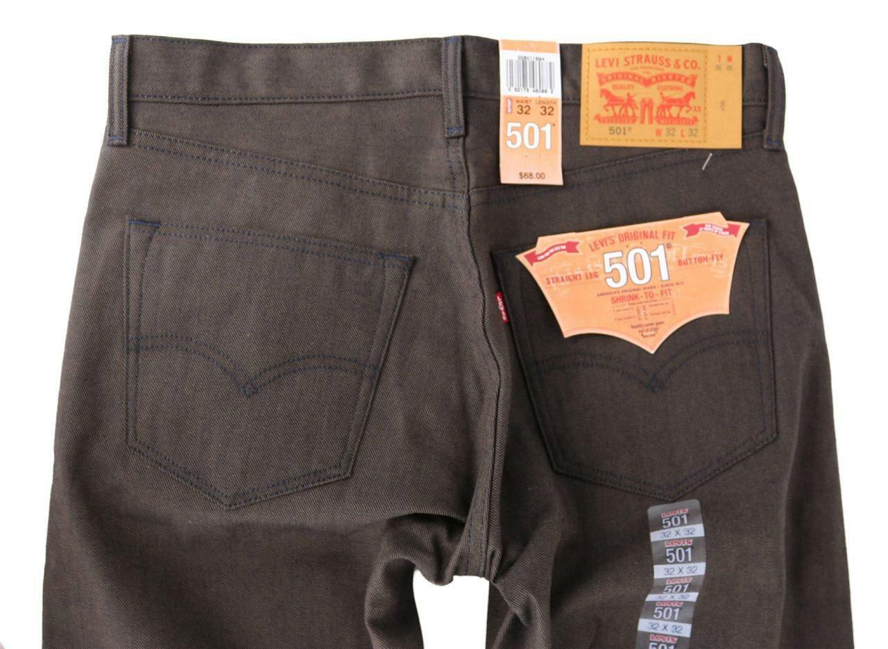 NEW LEVI'S 501 MEN'S SHRINK TO FIT STRAIGHT LEG JEANS BUTTON FLY BROWN 501-1894