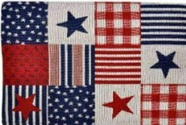 "Set of 4 Tapestry Placemats, 13""x19"" PATRIOTIC, STARS & STRIPES SQUARES,... - $19.79"