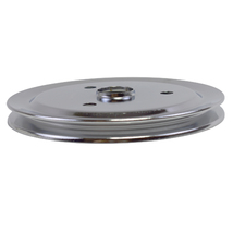 CHEVY SMALL BLOCK SINGLE-GROOVE STEEL SHORT WATER PUMP CRANKSHAFT PULLEY CHROME image 1