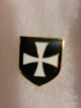 White Knight's Templar Cross on Black Shield Lapel Pin  image 1