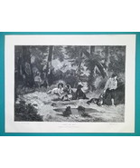 DOGS in Forest - 1876 Antique Print after Painter DIaz - $8.99