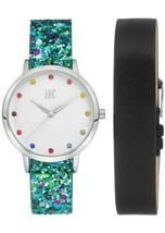 I.N.C. Women's Blue Glitter Black Faux Leather Interchangeable Strap Watch 36mm