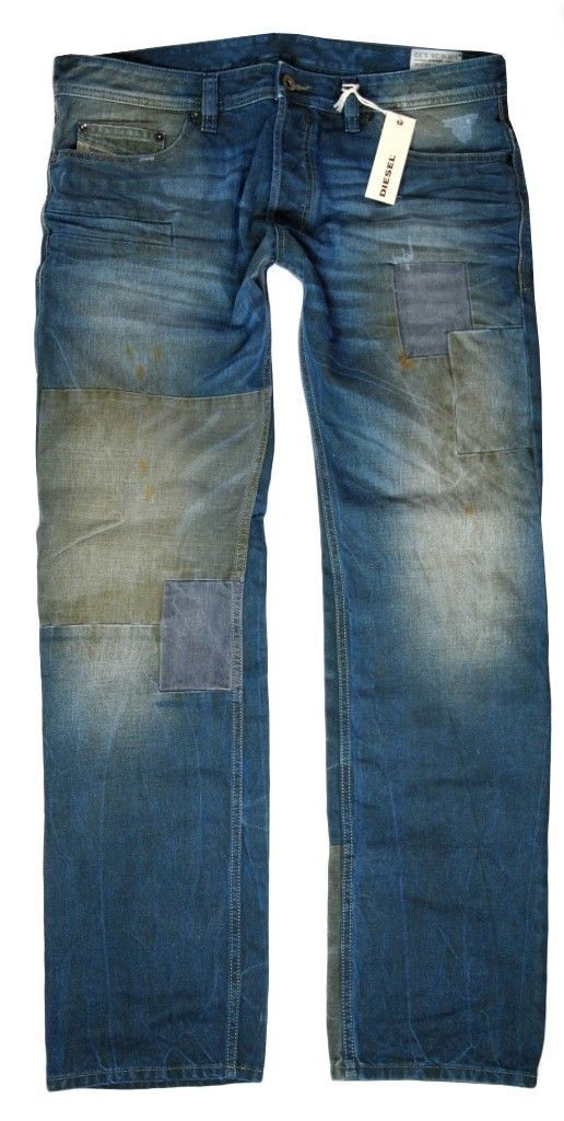 Brand New Diesel Men's Denim Regular Slim Straight Distressed Jeans Safado 0884B