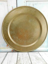 """Large Vintage Brass Tray Symbol  18-1/4"""" Ornate Floral Patter with Asian... - $88.11"""