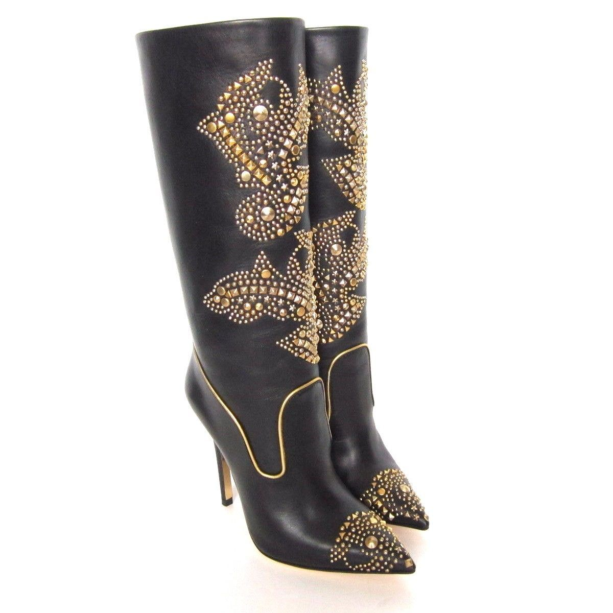 d71a8f658df W-1410300 New Versace Donna Black Leather Gold Embellished Boot Size 35.5 US-5.5  -  699.99